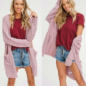 Sweaters - EDEN Softest knit cardigan - MAUVE